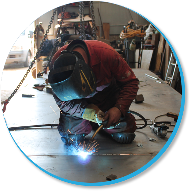 Our welder working in the workshop
