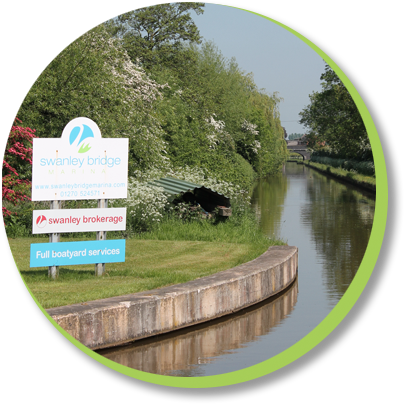 Swanley Marinas signage on the Llangollen canal